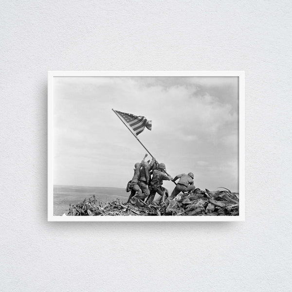 raising the flag on iwo jima photo poster wall art print