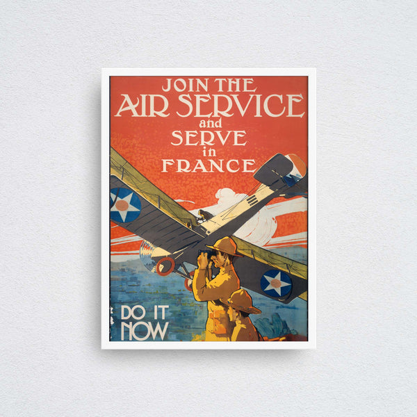 join the air service and serve in france poster framed