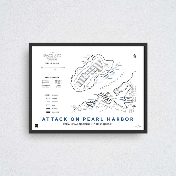 attack on pearl harbor map wall art
