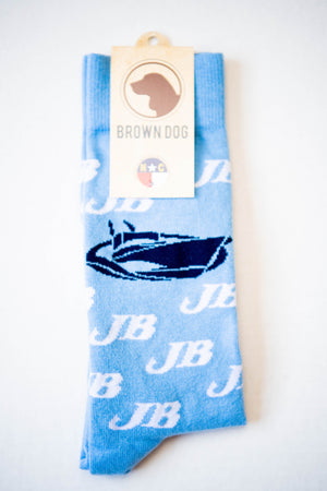 Jarrett Bay Logo Brown Dog Socks