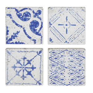 Azure Blue Ceramic Tile Coasters