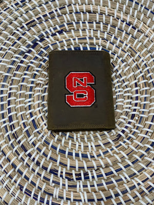 NC STATE tri fold leather wallet