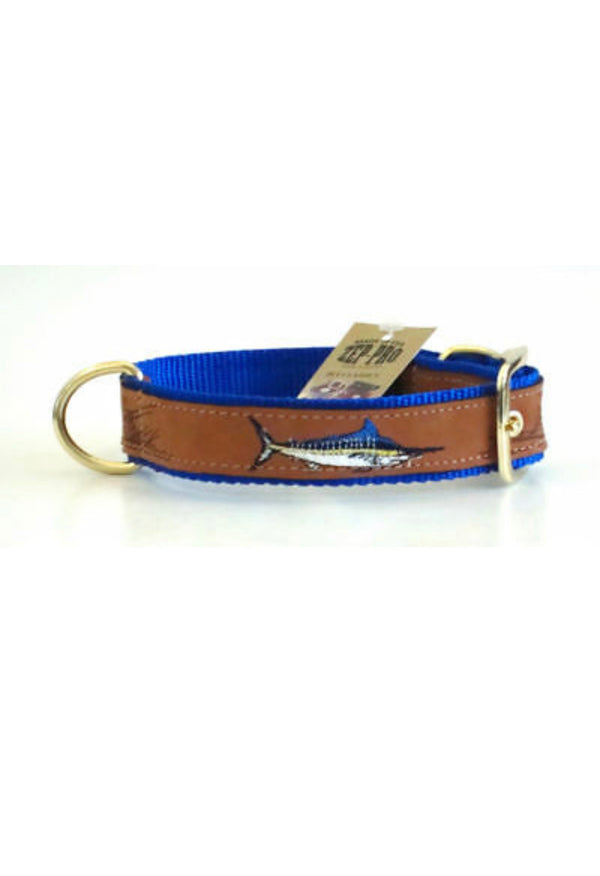 Leather Embroidered Marlin Dog Collar