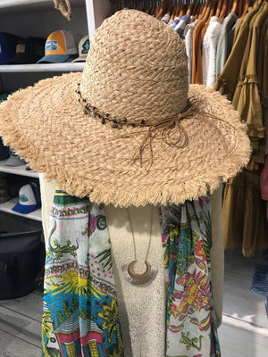 Raffia Wide Brim Beaded Hat