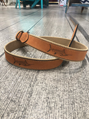 Embossed Marlin Leather Belt