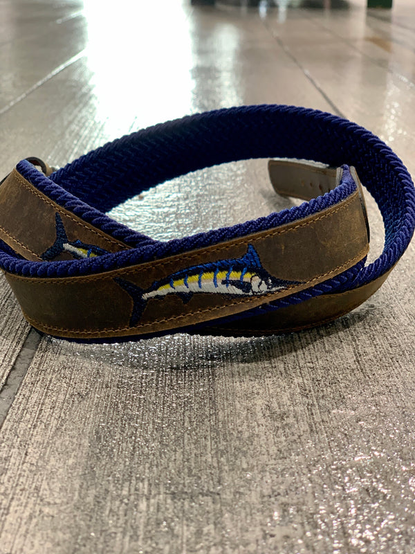 Leather Embroidered Marlin Belt