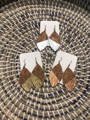 Metallic Colorblock Cork Feather Earring