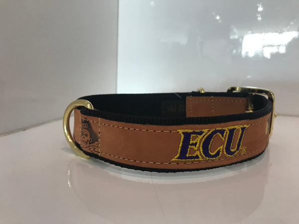 ECU Leather Dog Collar