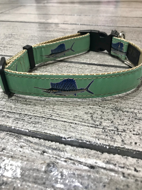 Sailfish Mint Green Dog Collar