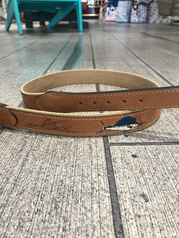 SAILFISH & SPORTFISHER LEATHER BELT