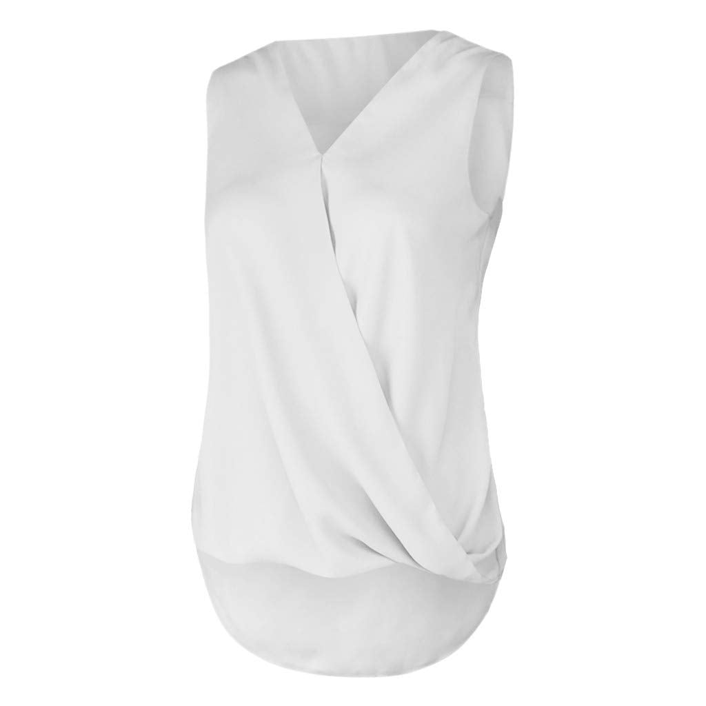 Portazai Women Summer Sleeveless Shirts Solid Cross V-Neck Tank Tops Overlap Loose Casual Blouse Tops Camisole Cami Vest