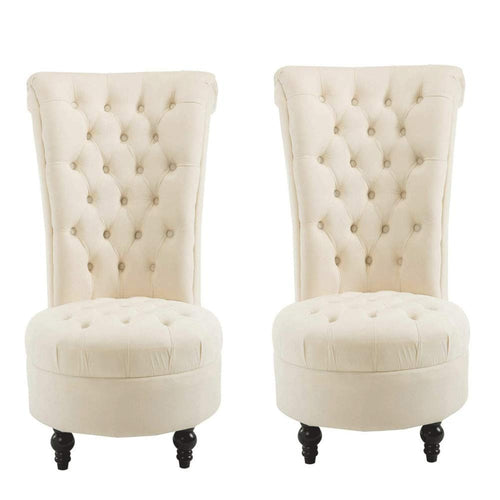 2 PCS Living Room High Back Chairs Velvet Padded Tufted Accent Chair for Girls Womens