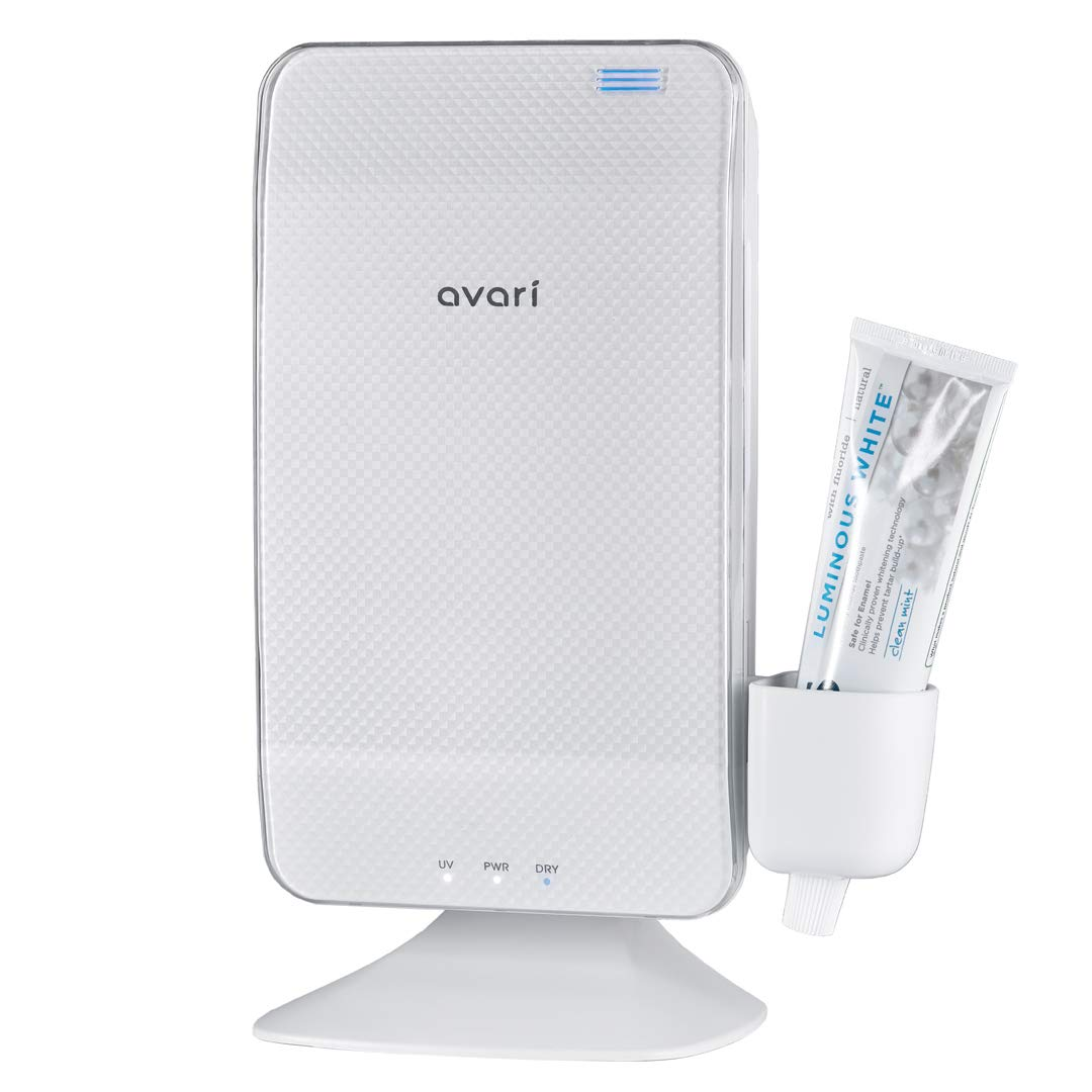 Avari Dual UV & Heat Premium Toothbrush Sanitizer, Antibacterial Germ Free Sterilizer for Toothbrush and Razor Hygiene, with Stand and Wall Mount, AC Adapter plus Toothpaste Holder - Pearl White