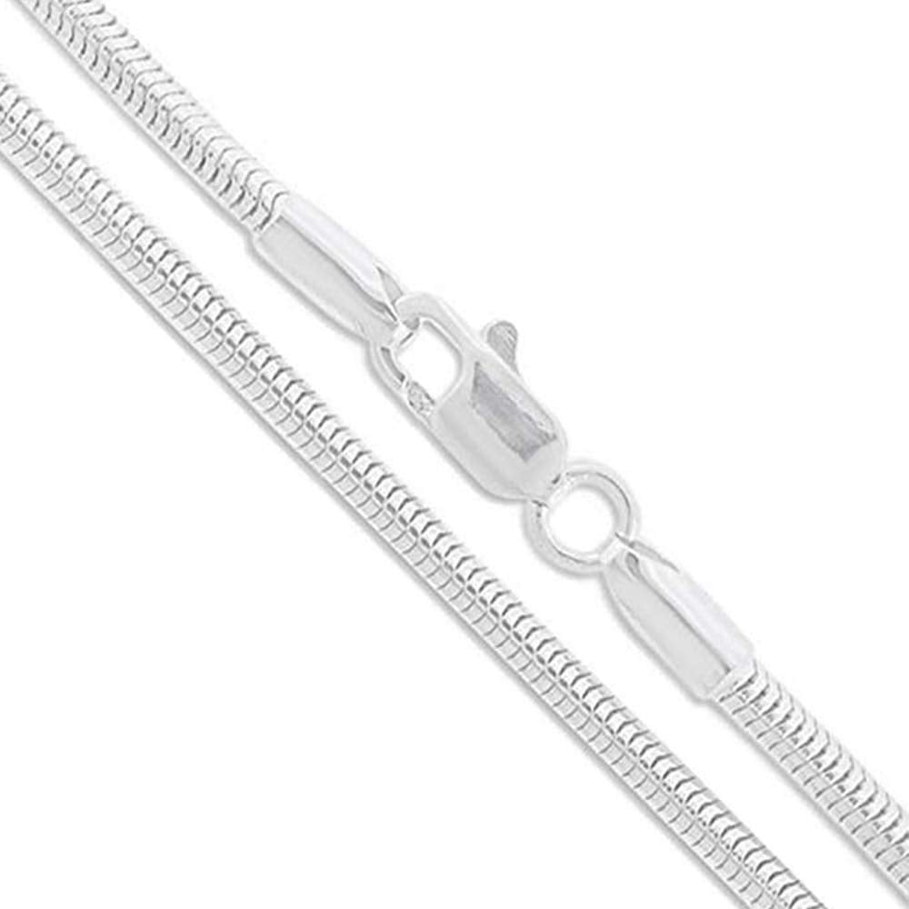 925 Sterling Silver Flex Snake Chain Necklace 2MM 3MM Round Snake Chain, 5MM Snake Chain Necklace 4MM