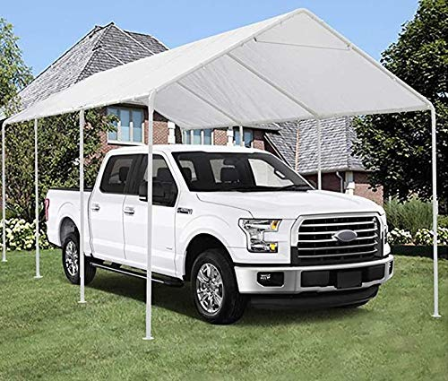 Carport 10 x 20 ft Heavy Duty Car Canopy Outdoor Portable Garage Boat Shelter Party Tent Waterproof Tear-Proof and Anti-UV,White,8 Steel Legs