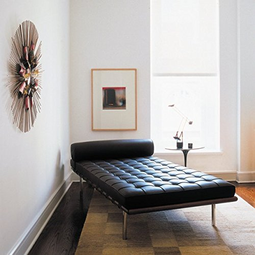 MLF Pavilion Daybed/Mies Couch, Top Grain Black Premium Aniline Leather with 12cm Wide Dark Walnut Frame