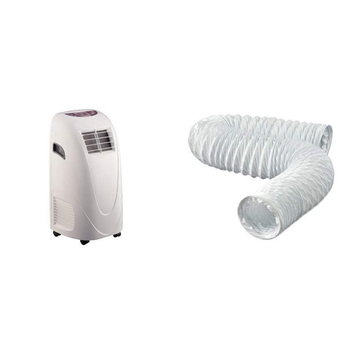 Global Air 10,000 BTU Portable Air Conditioner Cooling /Fan with Remote Control in White & Dundas Jafine FD420ZW Flexible White Vinyl Duct, 4-Inches by 20-Feet, 4\ x 20'