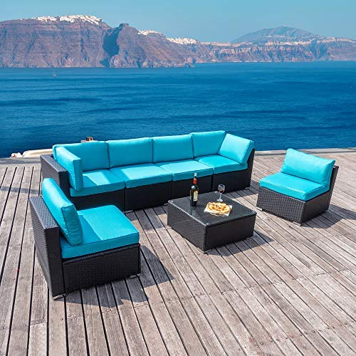 walsunny 7pcs Outdoor Black Rattan Sectional Sofa- Patio Wicker Furniture Set Conversation Sets with Tea Table&Washable Couch Cushions (Blue)
