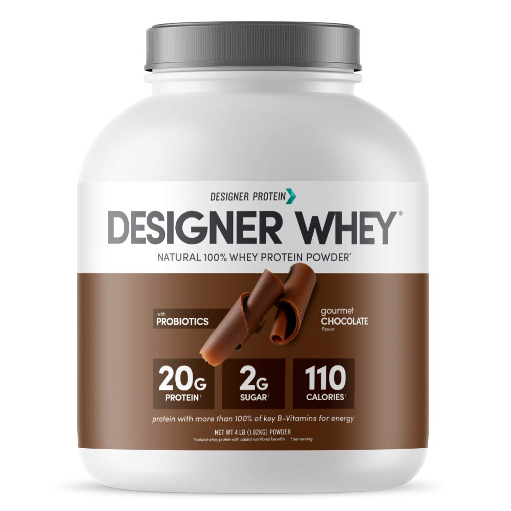 Designer Whey Natural Protein Powder, Gourmet Chocolate, 4 lb, Non GMO, No Artificial Flavors, Sweeteners, Colors, or Preservatives, Made in USA