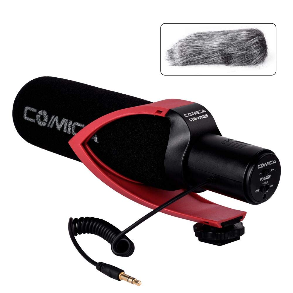 Comica CVM-V30 PRO Camera Microphone Electric Super-Cardioid Directional Condenser Shotgun Video Microphone for Canon Nikon Sony Panasonic DSLR Camera with 3.5mm Jack (Red)