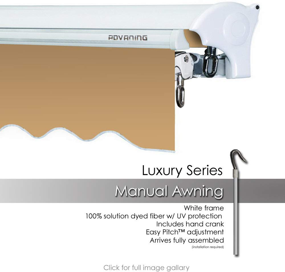 ADVANING 16'x10' Manual Patio Retractable Awning | Luxury Series | Premium Quality, 100% Solution-Dyed European Acrylic UV Sun Shade, Color: Khaki, MA1610-A100H2