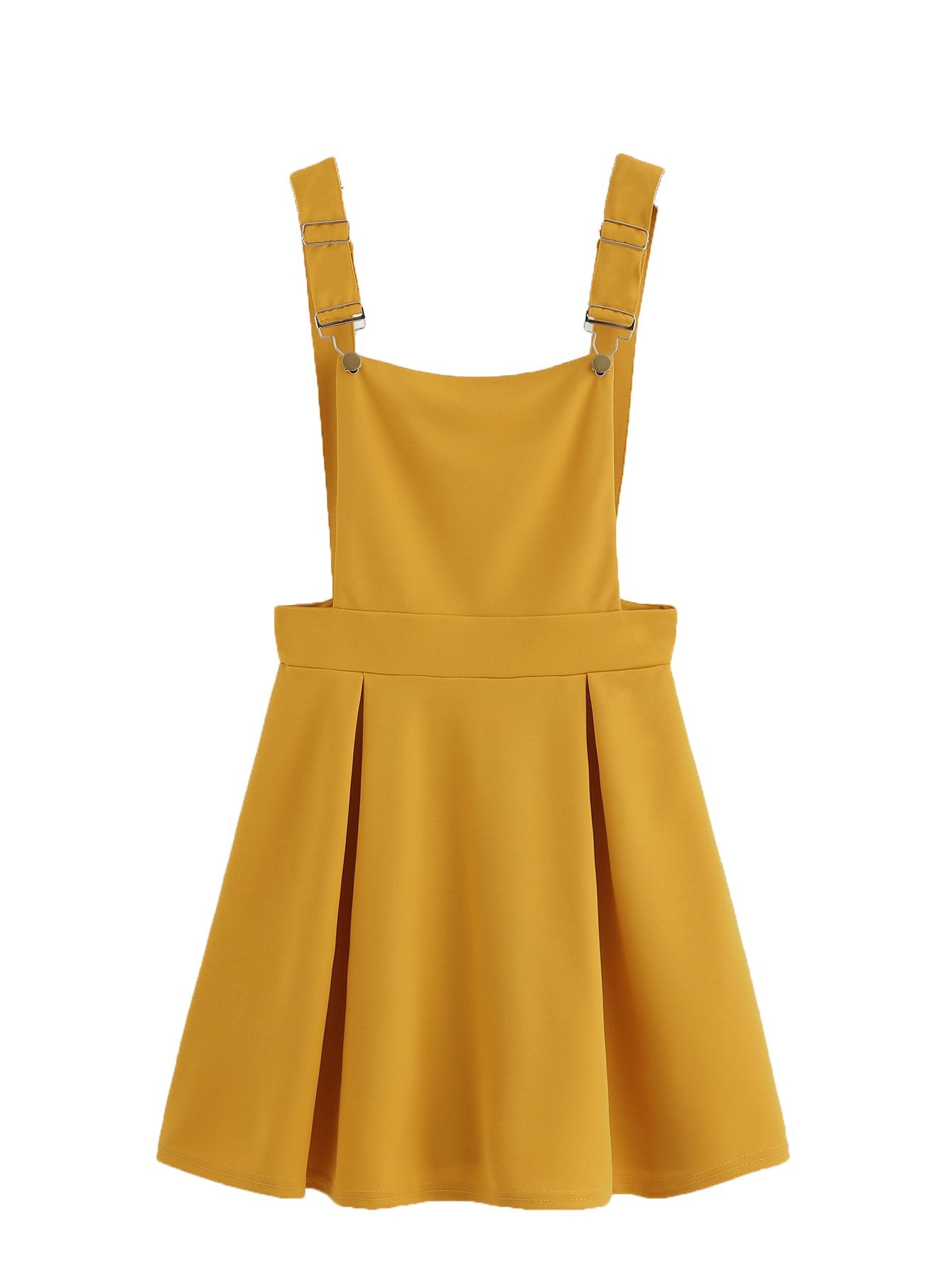 Romwe Womens Cute A Line Adjustable Straps Pleated Mini Overall Pinafore Dress