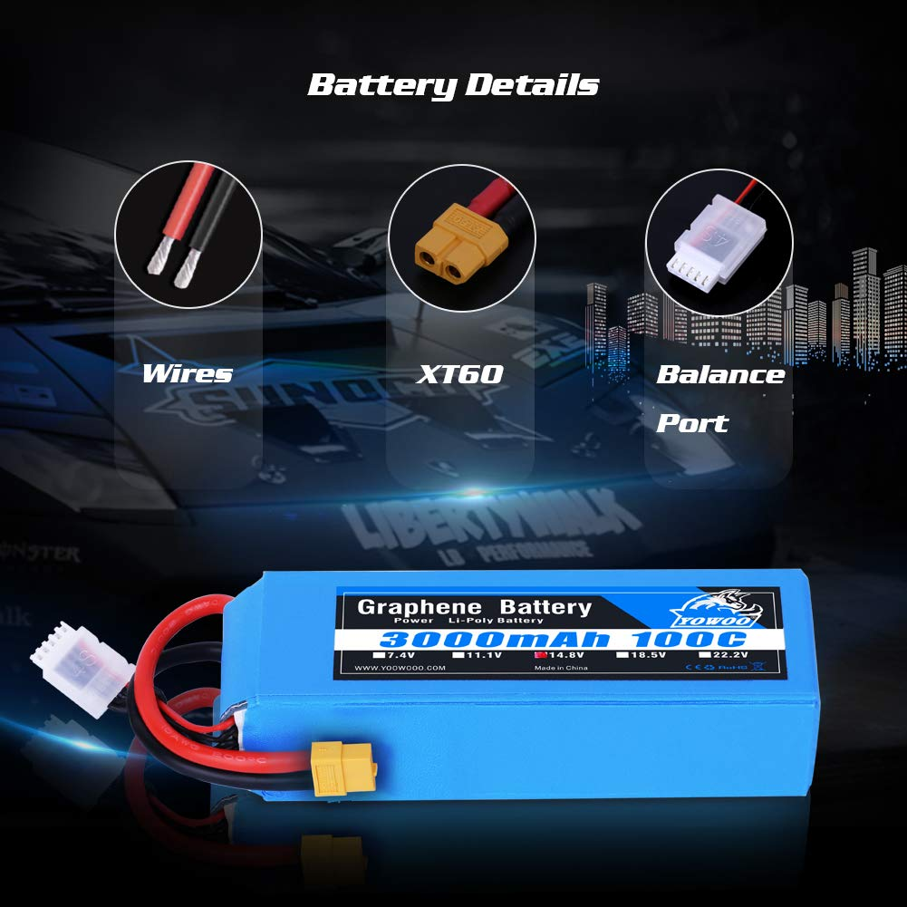 Yowoo Graphene Battery 14.8v 3000mah Lipo Battery 100C XT60 Plug for RC Boat, Helicopter, Airplane, AeroWorks Extra 260 Freestyle QB-L, E-flite Rare Bear, Fury 15 DF, STAUFENBIEL Red Bull Edge 540
