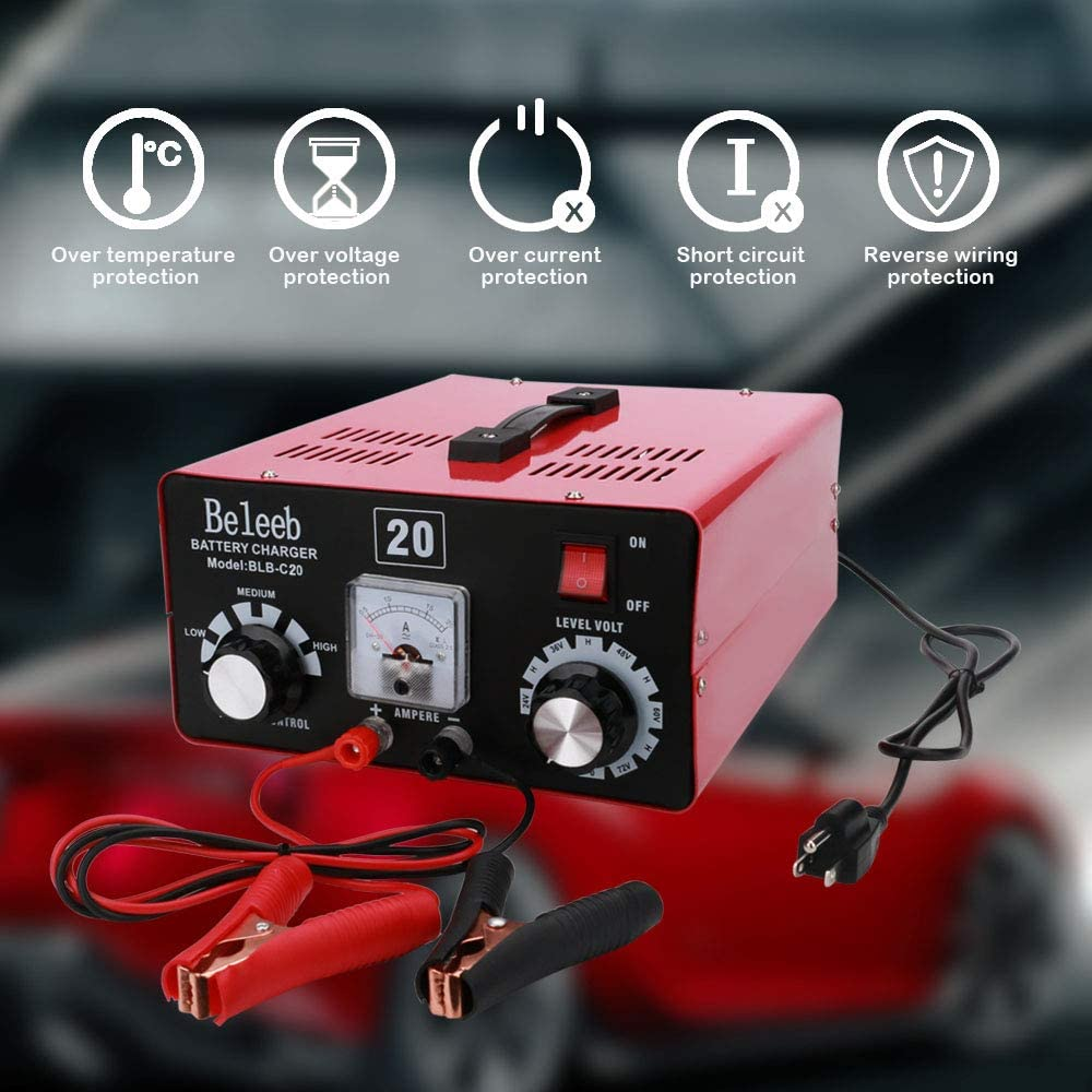 Beleeb Battery Charger 12V//20A 24V//10A Trickle Charger Smart Automatic Battery Charger for Car Motorcycle Boat Marine Lawn Mower SLA ATV RV SUV Wet AGM Gel Cell Lead Acid Battery