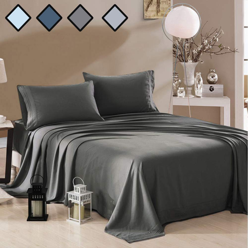 MELODIE DIRECT Twin Size Bed Sheets Set Deep Gray - Extra Soft 100% Brushed Microfiber 1800 Luxury Bedding with 15-Inch Deep Pockets Wrinkle, Fade, Stain Resistant - Hypoallergenic - 3 Piece