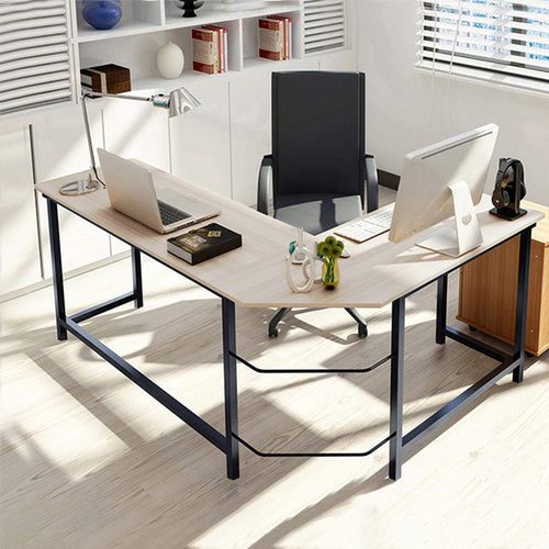(US Fast Shipment) Home Office Corner Desk L Shaped with Table Steel Wood Study, Gaming Computer Desk Space-Saving, Easy to Assemble, PC Table Workstation with Shelf, (White)