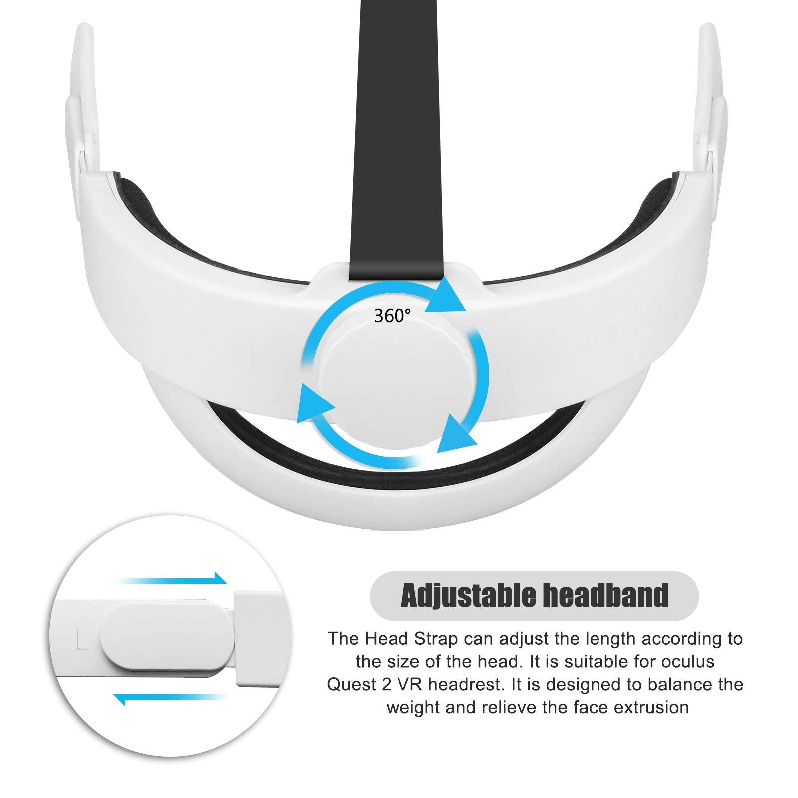 Adjustable Head Strap for Oculus Quest 2,Replace VR Headset Headband,Comfortable Foam Pad Strap,Design Balance Weight,Relieve Face Squeeze