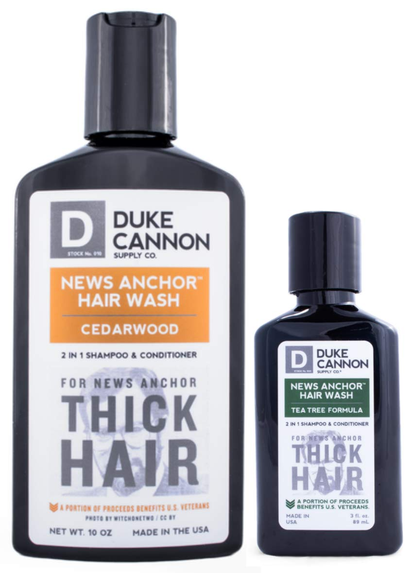 Duke Cannon News Anchor Thick Hair Wash 2-in-1 Shampoo and Conditioner for Men Combo: Cedar 10 oz. + Tea Tree Travel Size 3 oz.
