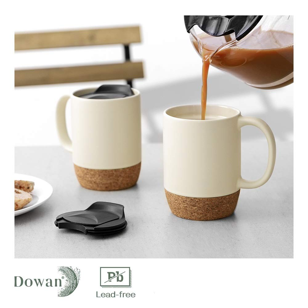 DOWAN Coffee Mugs Set of 2, 15 OZ Ceramic Mug with Insulated Cork Bottom and Splash Proof Lid, Large Coffee Mug with Handle for Men, Women, Beige
