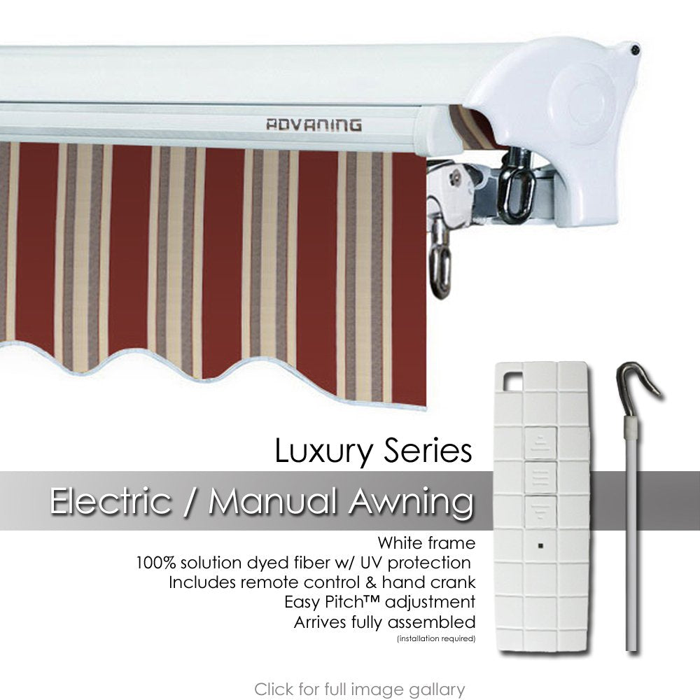ADVANING 10'x8' Motorized Patio Retractable Awning | Luxury Series | Premium Quality, 100% Solution-Dyed European Acrylic UV Sun Shade, Color: Brick Red Stripes, EA1008-A430H2