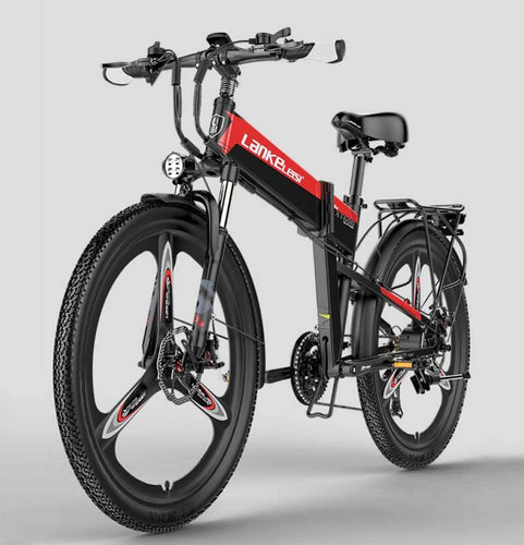 GJQ Electric Mountain Bike 26 Inches Folding Electric Bicycle with 400W 48V Li-Battery, 21 Speed Waterproof Commute Ebike with Rear Seat for Adult
