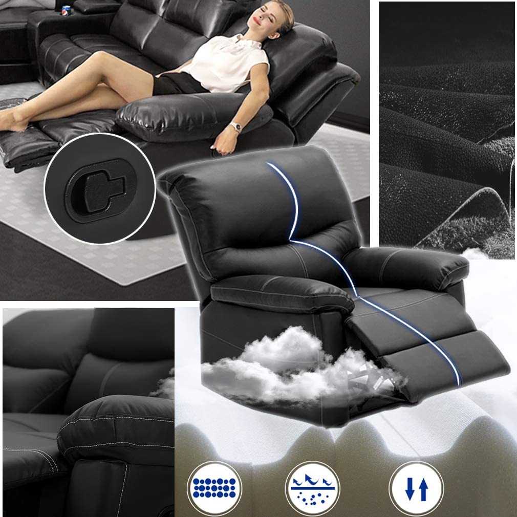 Recliner Sofa Living Room Set PU Leather Sofa Recliner Couch Manual Reclining Sofa and Sofa (3 Seater) for Home Furniture