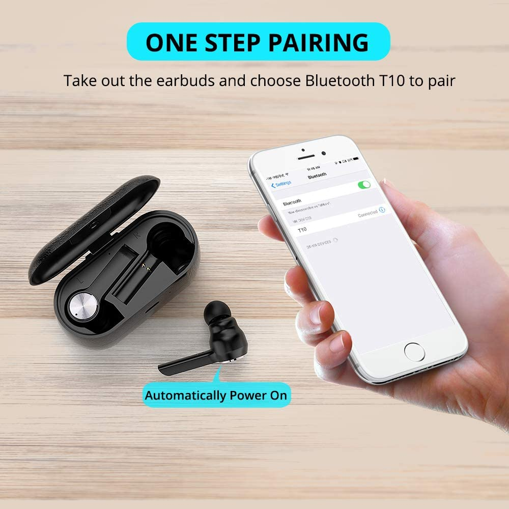 Wireless Earbuds Mijiaer Bluetooth 5.0 True Wireless Earbuds Touch Control Stereo Bass Air Buds Headphones Earbuds with Charging Case Airbuds Compatible for Airpods, Phone(4Hrs Playtime, Built-in Mic)
