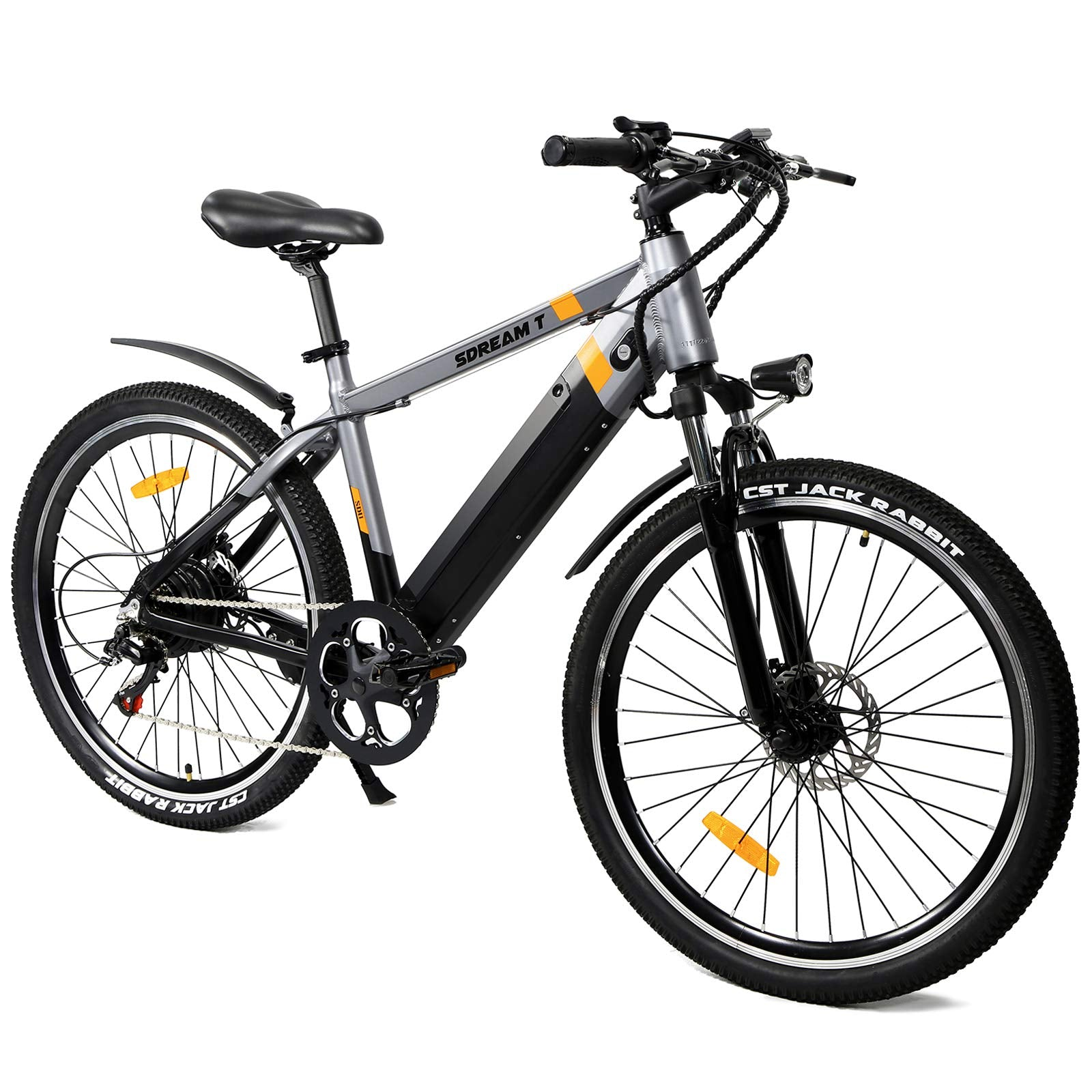 SDU 350W Mountain Electric Bike SDREAM T350, Hidden Design 48V/10.4Ah Removable Battery, 26″ Gray Ebike for Adults, Max 20 MPH, Cruise Feature, Front Suspension Bicycle for Mountain Trail/Commuting