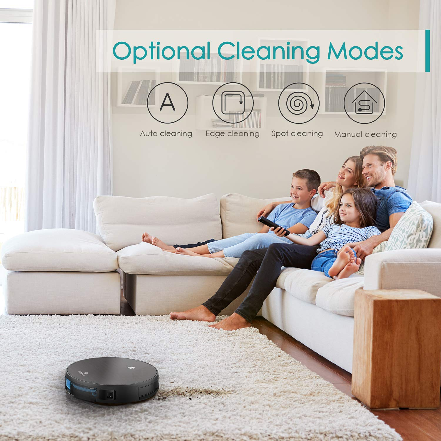 MOOSOO Robot Vacuum Cleaner, 1800PA Robotic Vacuum, Wi-Fi Connected, App Control, Smart Navigation, Self-Charging, Compatible with Alexa Cleans Hard Floor to Carpets