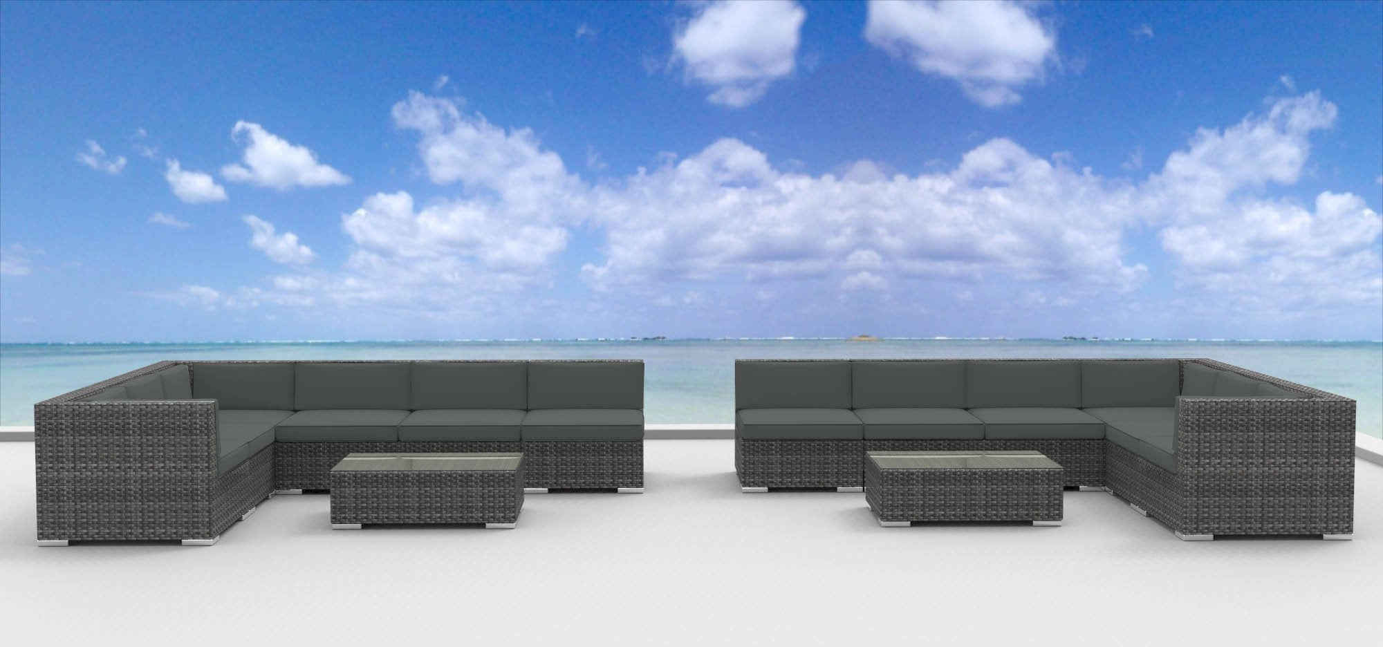 UrbanFurnishing.net 14b-lajolla-Charcoal 14 Piece Modern Wicker Patio Furniture Sofa Sectional Couch Set