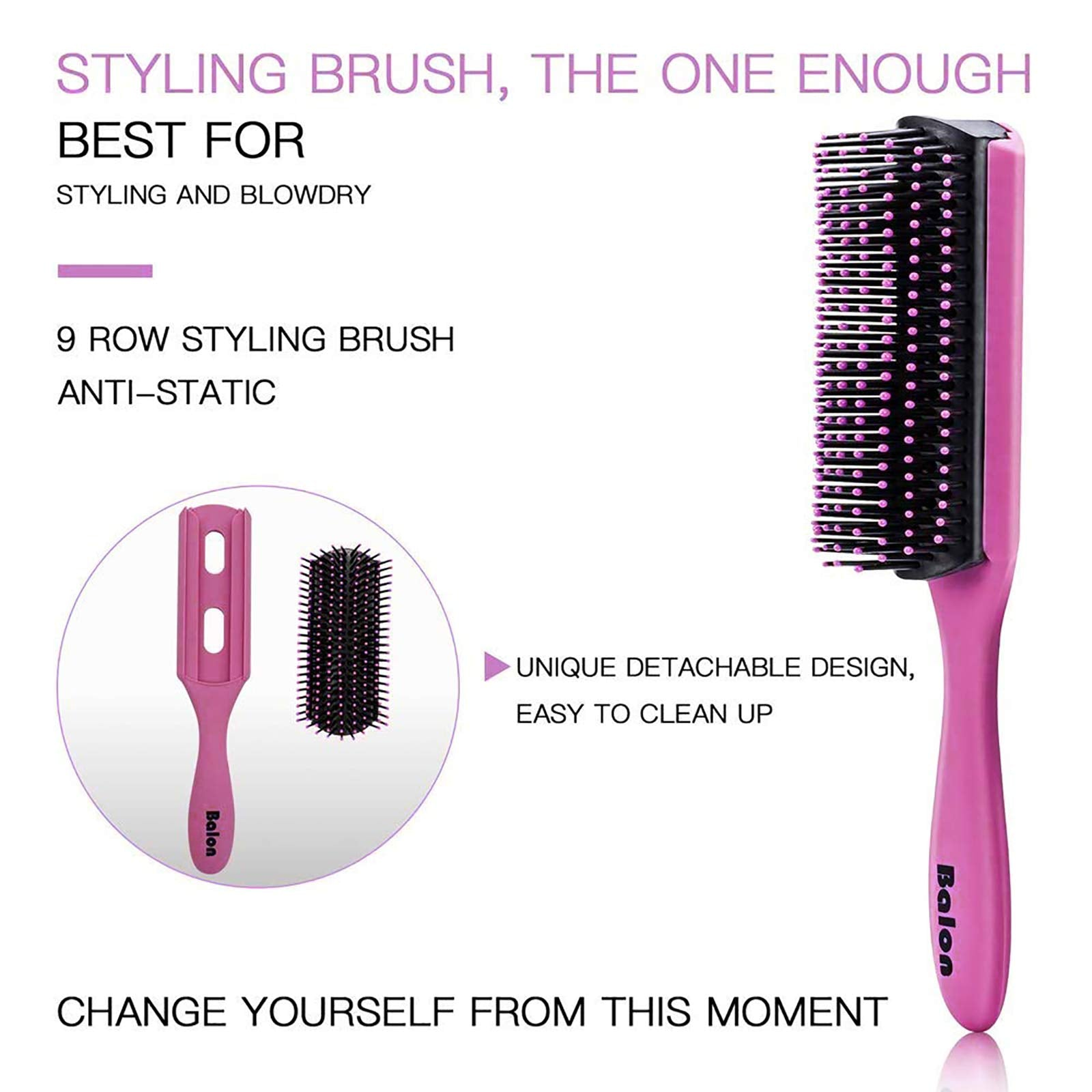 4Pcs Hair Brushes for Women, Hair Comb for Women and Detangling Paddle Brush, Great On Wet or Dry Hair, No More Tangle Hair Brush Set for Straight Long Thick Curly Natural Hair (Pink)