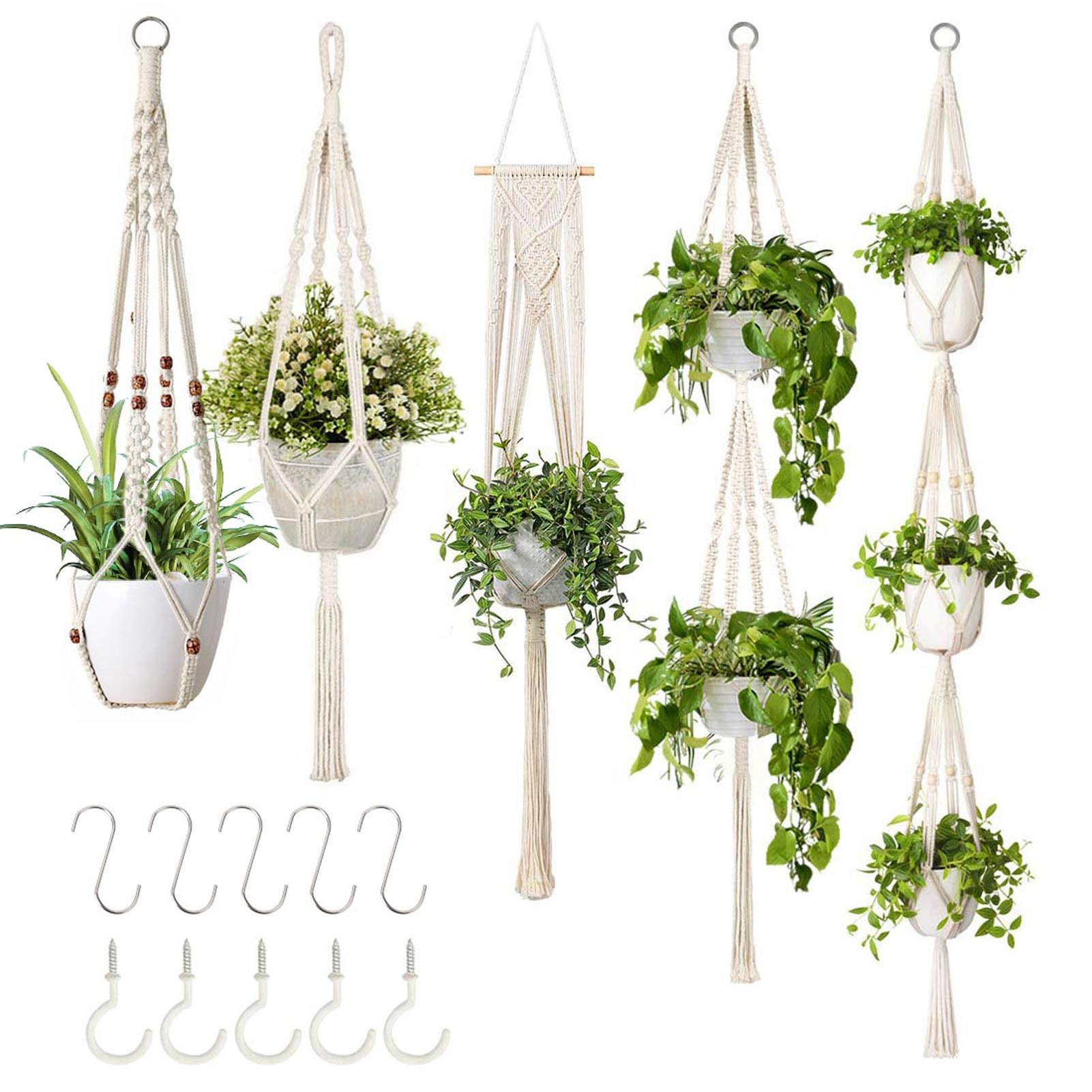 Handmade Cotton Rope Hanging Planters Set Flower Pots Holder Stand Hanging Plant Holder For Indoor Outdoor Boho Home Decor Different Tiers 6 Pieces Macrame Plant Hangers With 6 Hooks Hanging Planters