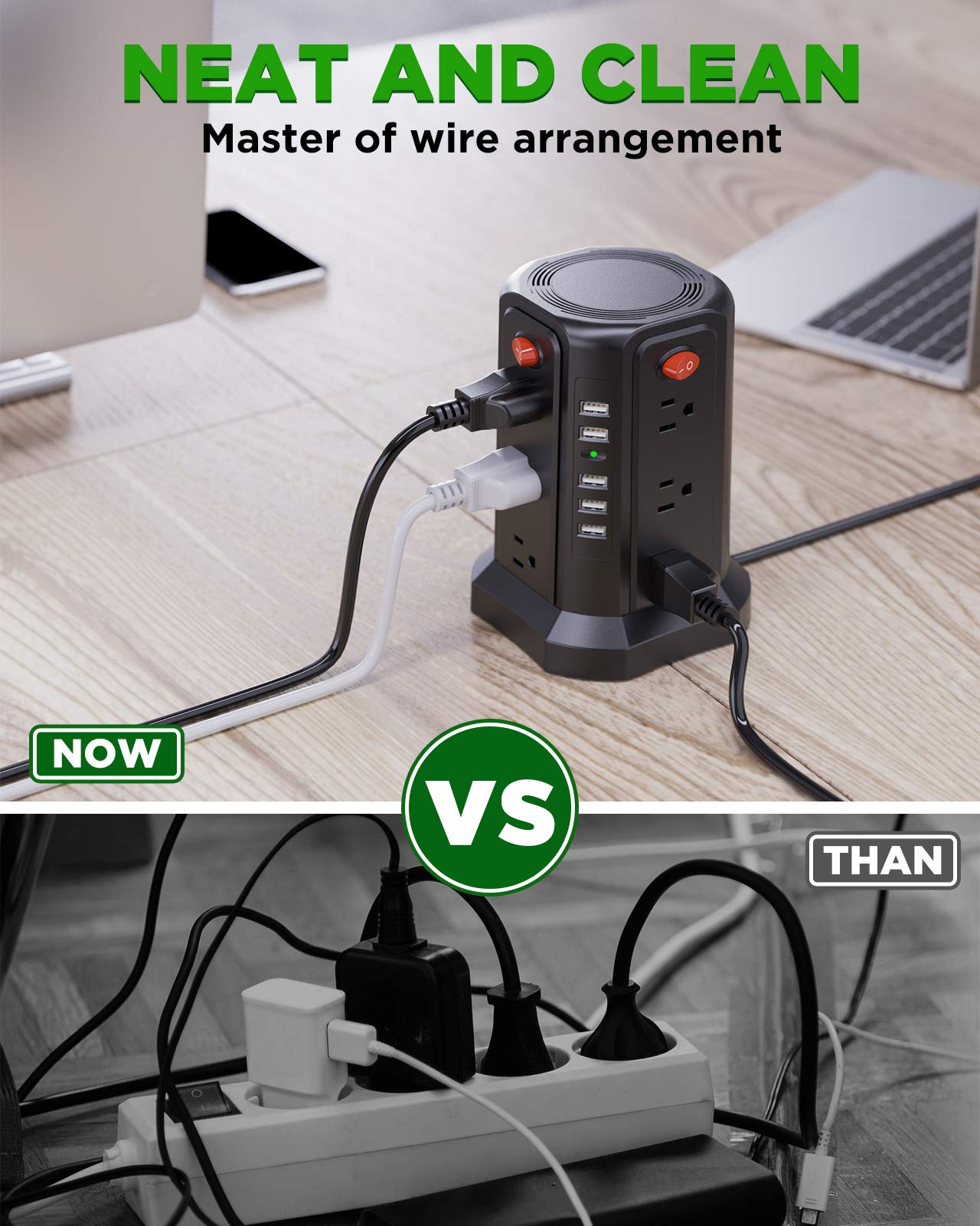 Surge Protector Power Strip 16.4FT//5M 5 USB Ports 12 Outlet Power Strip with USB Long Cord Outlet Surge Protector Tower