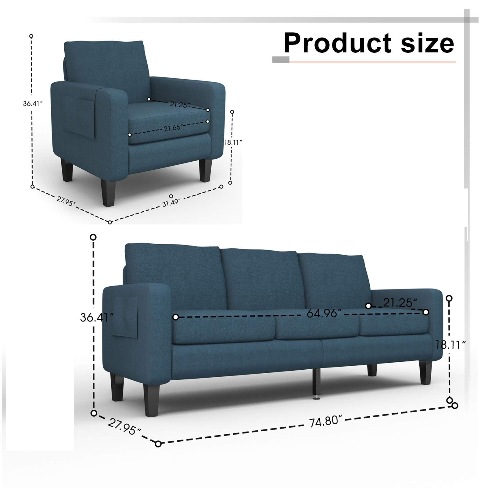 Office Bedroom Mecor 2 Piece Living Room Sofa Set Modern Fabric Couch Furniture Upholstered Single Sofa Chair and Loveseat for Living Room Apartment and Small Space