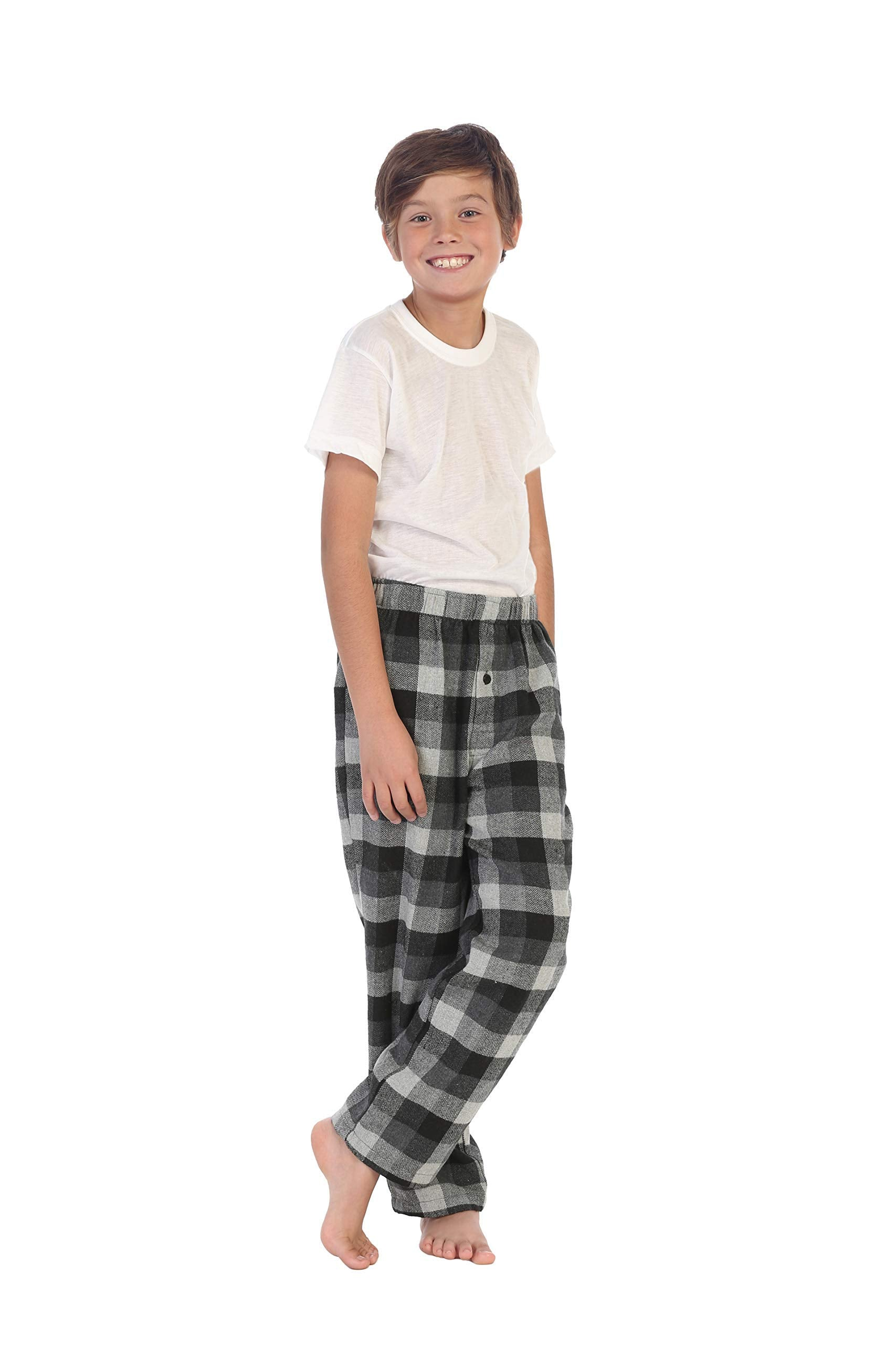 Gioberti Boys Yarn Dye Brushed Flannel Lounge & Pajama Pants with Elastic Waist