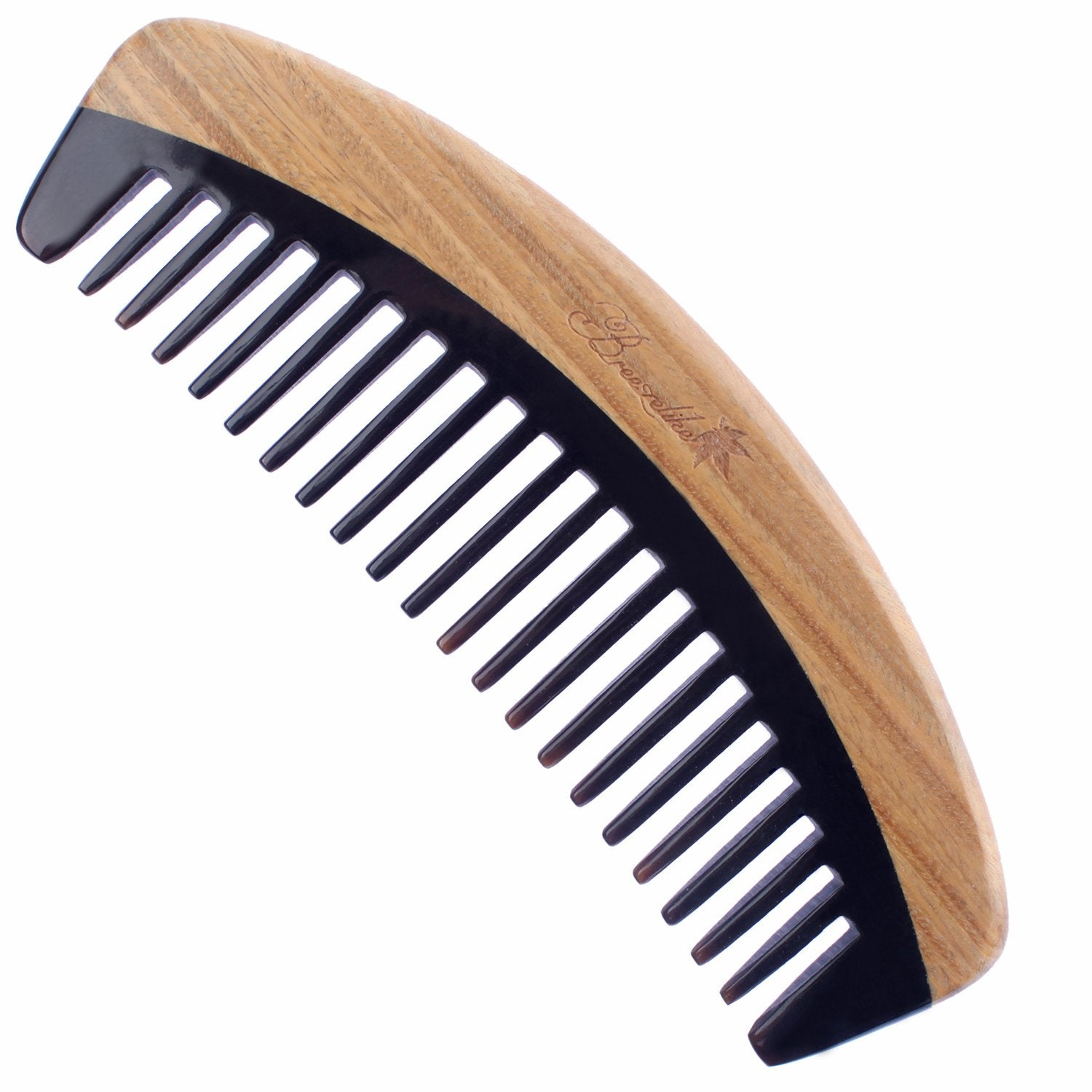 Breezelike Hair Comb - Wide Tooth Wooden Detangling Comb for Curly Hair - No Static Sandalwood Buffalo Horn Comb for Men and Women