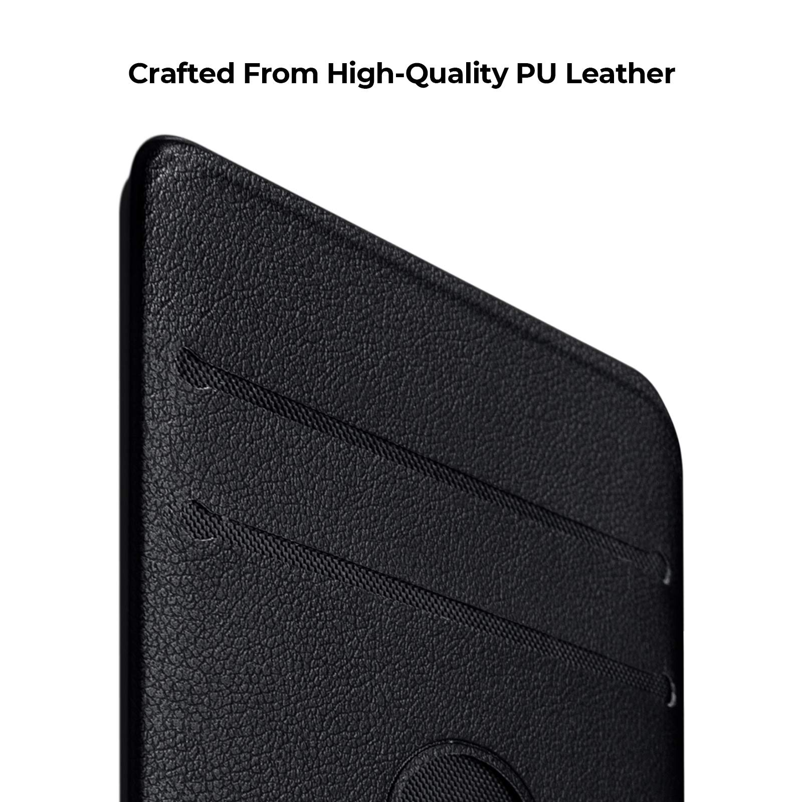 PITAKA Magnetic Card Holder for Credit Or Business Cards [MagEZ Card Sleeve] Exclusive Accessories Compatible with MagEZ Phone Case and iPad Pro Case PU Leather - Black
