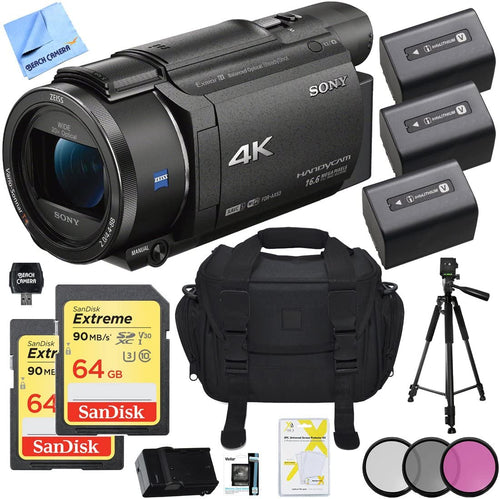 Sony FDR-AX53/B 4K Handycam Camcorder Bundle with 2X 64GB Memory Card, Camera Bag, 60 Inch Tripod, 2540 mAh Battery, Charger, 55mm Filter Set and Table-top Tripod