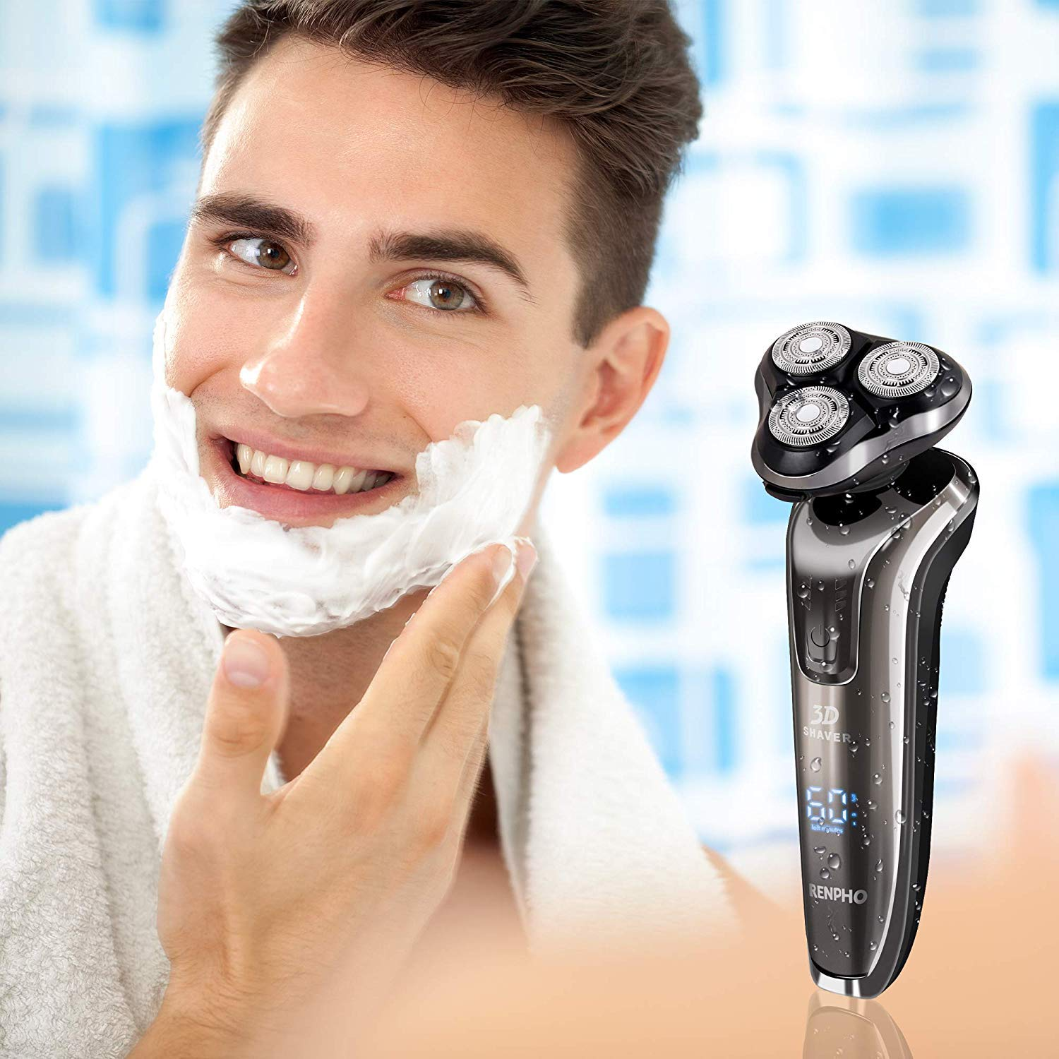 RENPHO Electric Shaver Rotary Razor for Men, Wet & Dry Mens Electric Razors Cordless Beard Trimmer Beard Trimmer Sideburn Trimmer 2 in 1 Shaver USB Rechargeable Waterproof