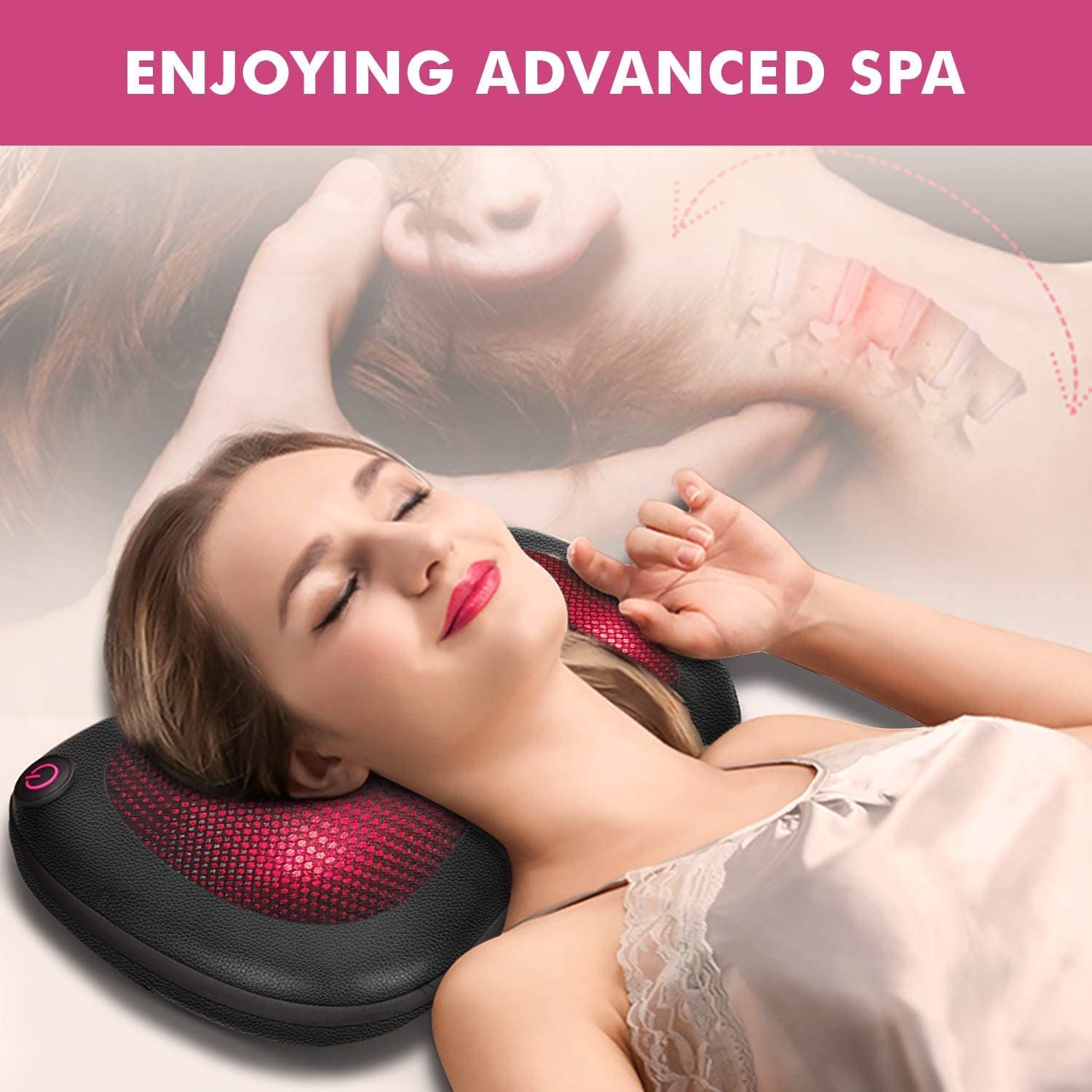 Neck Massager -Pillow Massager with Infrared Heat, Shiatsu Back and Neck Massager for Shoulders, Lower Back, Calf, Relaxation Gifts for Women/Men/Dad/Mom, Use at Home, Office, Car